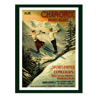 Ski vintage de Chamonix Carte Postale