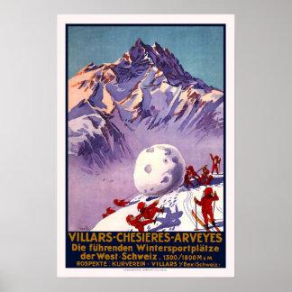 Ski vintage de voyage de la Suisse Poster