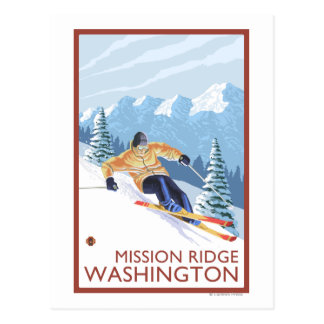 Skieur de neige de Downhhill - mission Ridge, Carte Postale