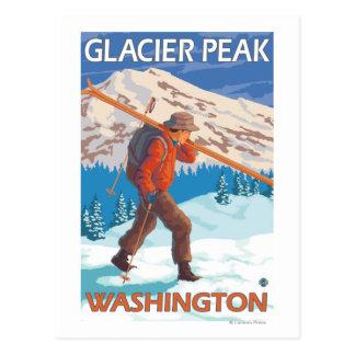 Skis de transport de neige de skieur - crête de carte postale