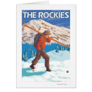 Skis de transport de neige de skieur - les carte de vœux