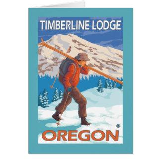 Skis de transport de neige de skieur - loge de carte de vœux