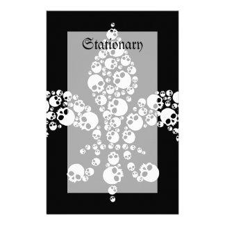 Skull Fleur De Lis Papier À Lettre Personnalisable