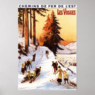 Sledding et skier à l'affiche de VOSGES Affiches