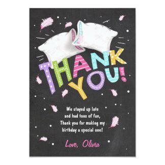 Sleepover de carte de remerciements de pyjamas de carton d'invitation  12,7 cm x 17,78 cm