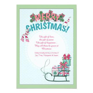 Sleigh des présents carton d'invitation  12,7 cm x 17,78 cm