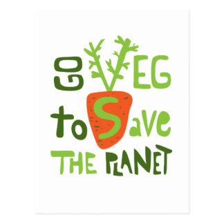 Slogan écrit par main végétalienne avec la carte cartes postales