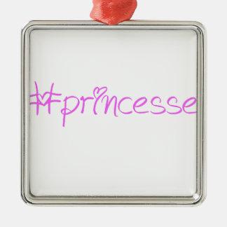 Slogan #princesse ornement carré argenté