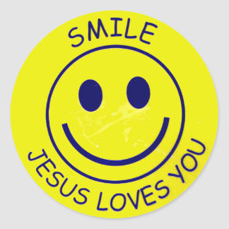 Smile Jesus Loves You Sticker Rond