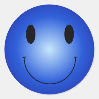 Smiley bleu adhésif rond