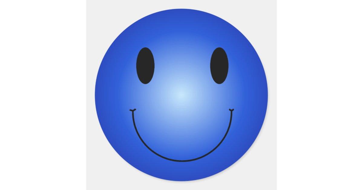 Smiley bleu sticker rond zazzle - Deco kamer bebe blauw ...