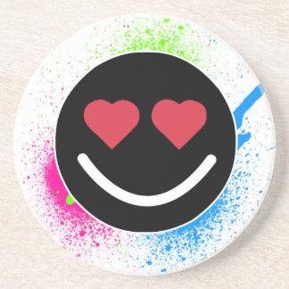 Smiley Coeur Dessous De Verre En Grès