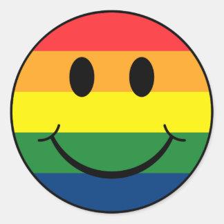 Smiley d'arc-en-ciel adhésifs ronds