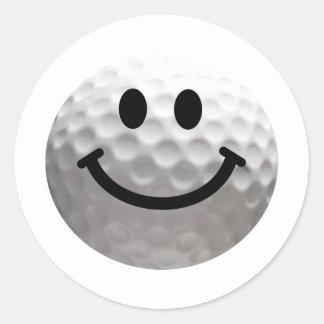Smiley de boule de golf sticker rond