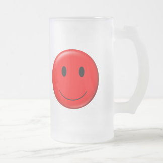 smiley du rouge 3D Frosted Glass Beer Mug