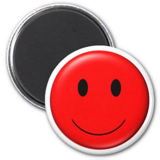 smiley du rouge 3D Magnet Rond 8 Cm