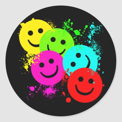 SMILEY ET ÉCLABOUSSURE DE PEINTURE AUTOCOLLANTS RONDS