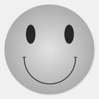 Smiley gris sticker rond