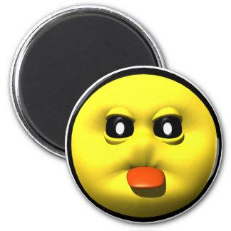 Smiley jaune collant le tounge magnet rond 8 cm