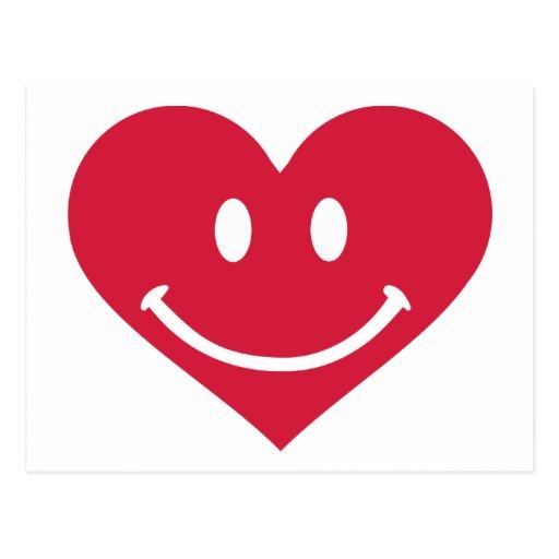 foto de Smiley rouge de coeur heureux carte postale Zazzle