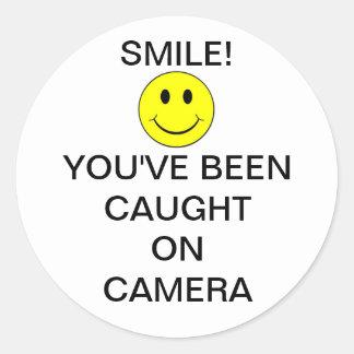 SmileyFaceBurglarCam Autocollants Ronds