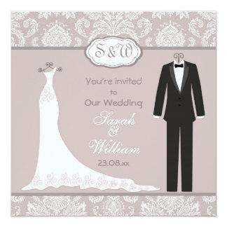 Smoking et robe sur mariage damassé gris rose carton d'invitation  13,33 cm