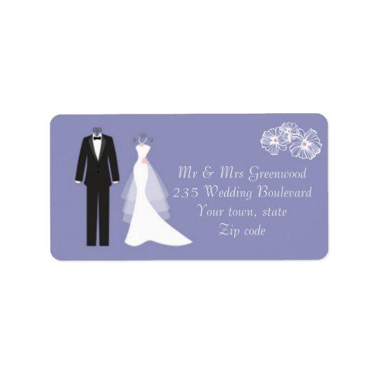 Smoking, robe de mariage sur l'étiquette de étiquettes d'adresse