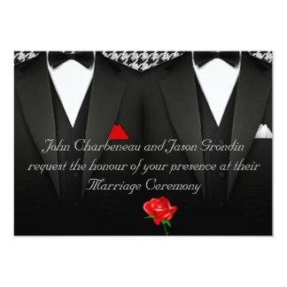 Smokings élégants de faire-part de mariage gai carton d'invitation  12,7 cm x 17,78 cm