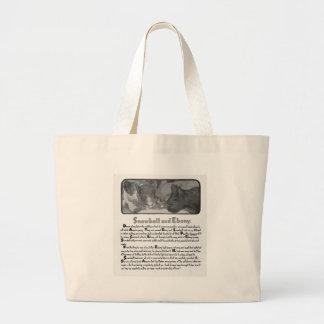 Snowball et histoire et illustration de chat de bo sac en toile