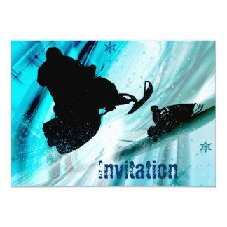 Snowmobiling sur les traînées glaciales carton d'invitation  12,7 cm x 17,78 cm