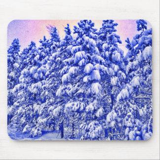 Snowscape bleu, conifère, Co Tapis De Souris