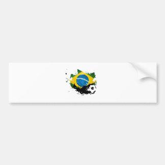 soccer football over brazil flag painting adhésifs pour voiture