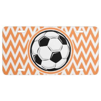 Soccer; Orange and White Chevron License Plate