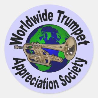 Société mondiale d'appréciation de trompette autocollants ronds