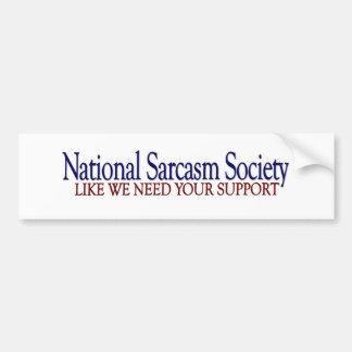 Société nationale de sarcasme autocollant de voiture