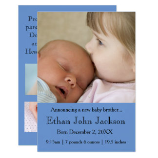 soeur 3x5 annonçant le bleu de la naissance du carton d'invitation 8,89 cm x 12,70 cm