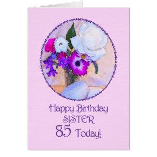 Soeur, 85th anniversaire avec les fleurs peintes cartes