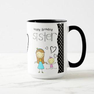 Soeur de joyeux anniversaire tasses
