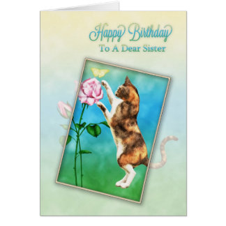 Soeur, joyeux anniversaire avec un chat espiègle carte de vœux