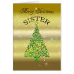 Soeur, une carte de Noël d'effet d'or