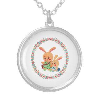 Soeurs de lapin pendentif rond
