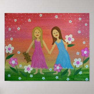 Soeurs et amis - les petites filles 8x10 badine posters