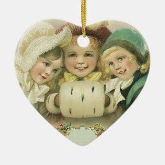 Soeurs vintages de Noël, enfants victoriens Ornement Cœur En Céramique