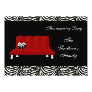 sofa rouge chic, invitation de partie