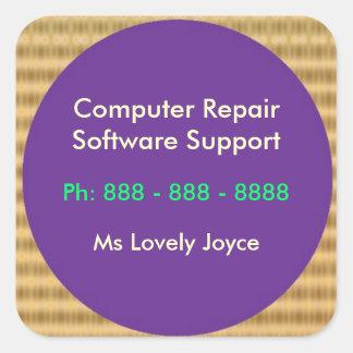 Software support de la réparation n d'ordinateur sticker carré