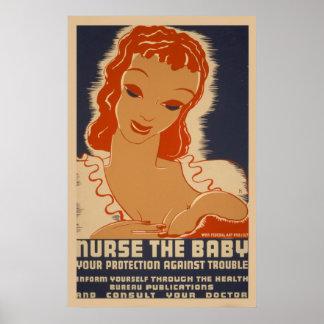 Soignez le poster vintage de WPA de bébé