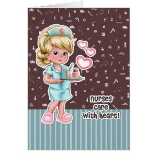 Soin d'infirmières avec le coeur. Cartes de voeux