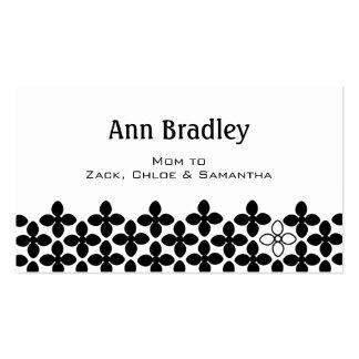 Soin noir et blanc floral de maman carte de visite standard