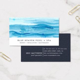 Soin ou bain bleu de piscine de l'ondulation   cartes de visite