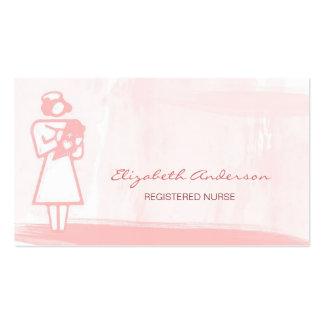 Soins de santé roses Girly d'aquarelle d'infirmier Carte De Visite Standard